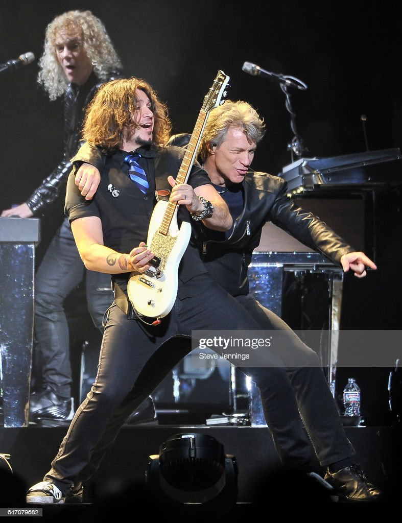 Phil X and Jon Bon Jovi of Bon Jovi perform on the 'This House Is Not For Sale Tour' at SAP Center on March 1, 2017 in San Jose, California.