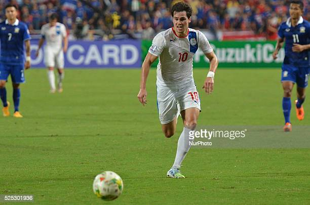Phil Younghusband of Philippines in actions during the AFF Suzuki Cup 2014 semifinals 2nd match between Thailand and Philippines at Rajamangala...