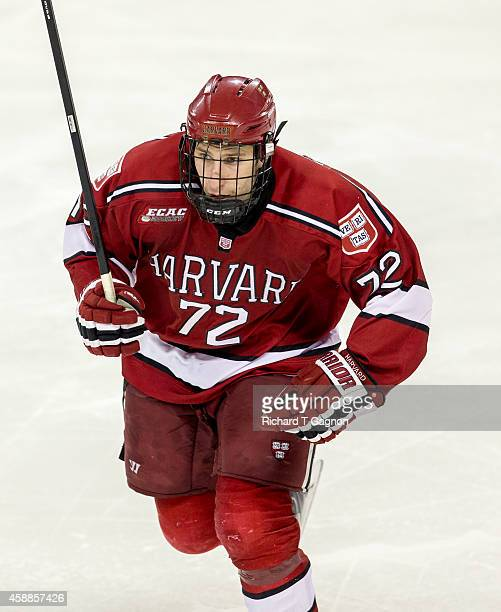 Phil Zielonka of the Harvard Crimson skates against the Boston College Eagles during NCAA hockey at Kelley Rink on November 11, 2014 in Chestnut...