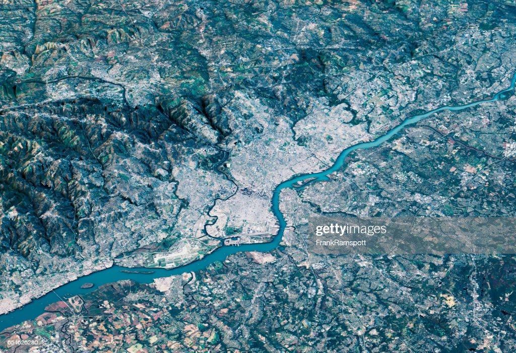 Philadelphia 3D Render Satellite View Topographic Map Horizontal : Stock Photo
