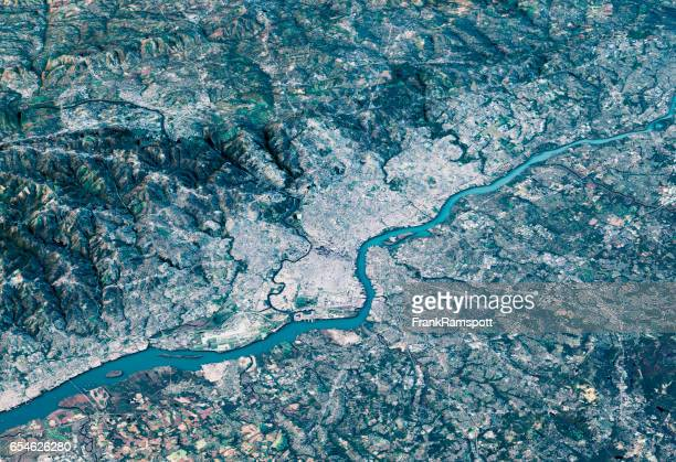 Philadelphia 3D Render Satellite View Topographic Map Horizontal