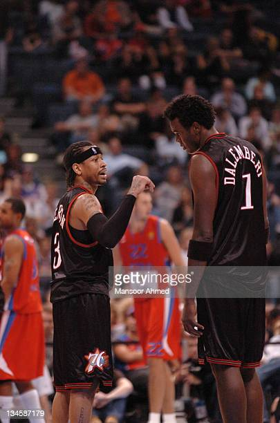 Philadelphia 76ers Allen Iverson and Samuel Delambert talk things over during the NBA Europe Live Tour presented by EA Sports on October 11, 2006 at...
