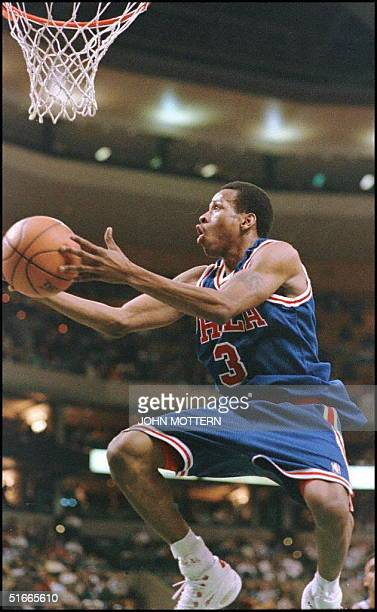 Philadelphia 76ers Allen Iverson drives to the basket against the Boston Celtics in the first half of acion at the Fleet Center January 22 The 76ers...