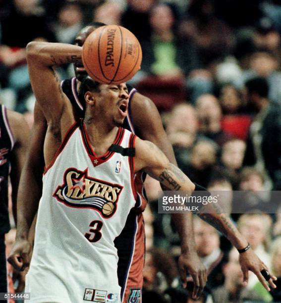 Philadelphia 76ers Allen Iverson expresses his displeasure on being called for an offensive foul in a foulladen game against the Utah Jazz 17 March...