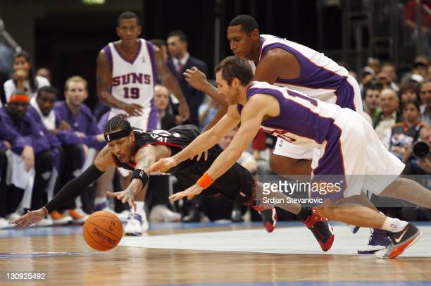 Philadelphia 76ers Allen Iverson left fight for the ball with Steve Nash right of Phoenix Suns during a NBA Live Tour friendly basketball match...