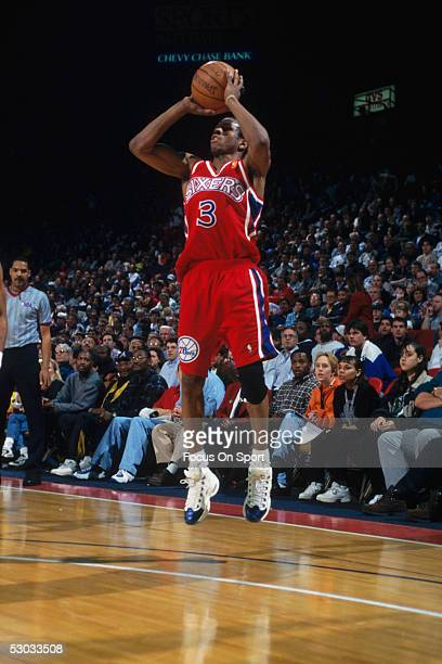 Philadelphia 76ers' Allen Iverson makes a jumpshot from the threepoint line during a game NOTE TO USER User expressly acknowledges and agrees that by...