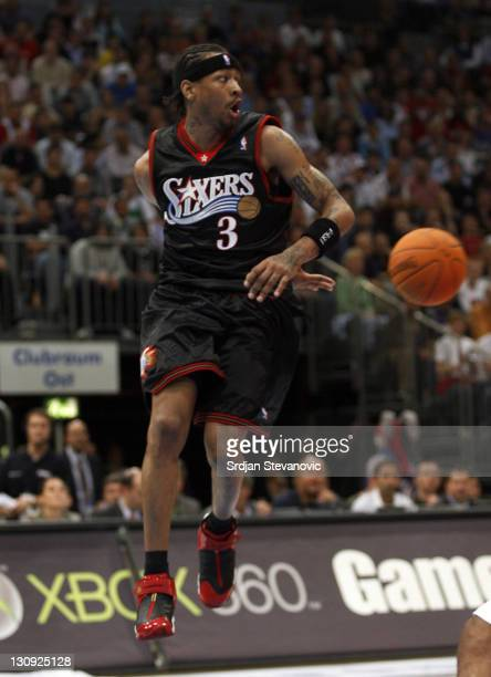 Philadelphia 76ers Allen Iverson pass the ball during a NBA Live Tour friendly basketball match between Philadelphia 76ers and Phoenix Suns at the...