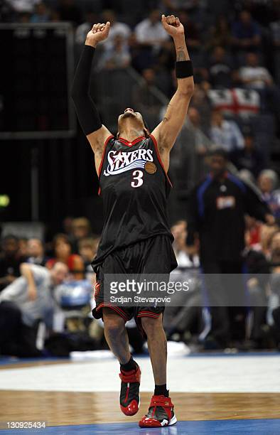 Philadelphia 76ers Allen Iverson react during a NBA Live Tour basketball match between Phoenix Suns and Maccabi Elite Tel Aviv at the KoelnArena in...