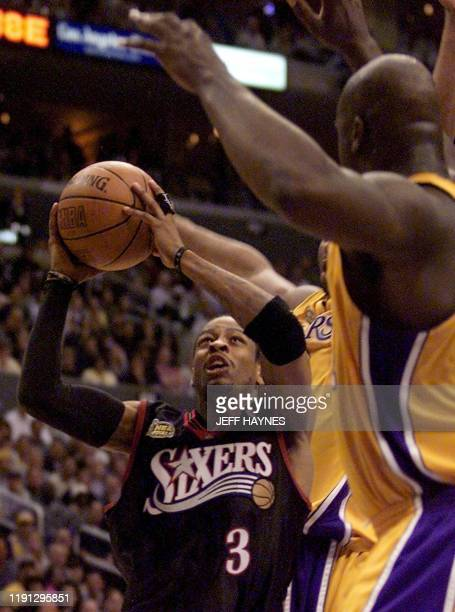 Philadelphia 76ers Allen Iverson tries to score during the second half of the NBA Finals Game 1 against the Los Angeles Lakers at the Staples Center...