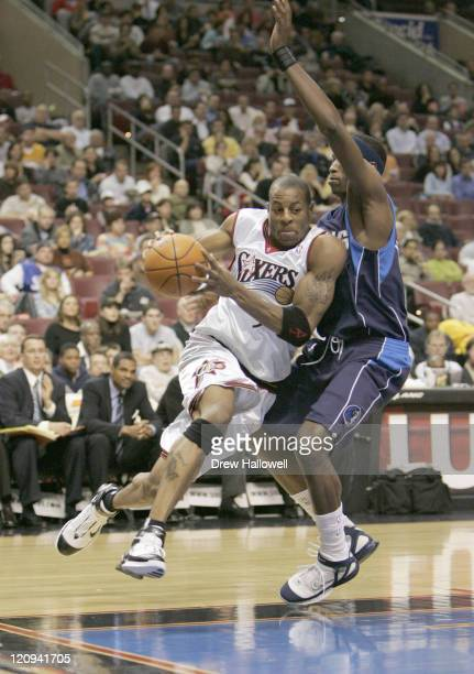 Philadelphia 76ers Andre Iguodala Wednesday, Nov. 9, 2005 in Philadelphia, PA. The Philadelphia 76ers defeated the Dallas Mavericks 112-97.