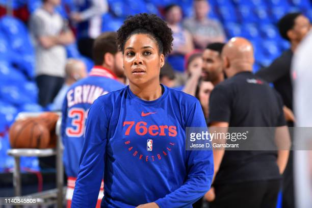 Philadelphia 76ers Assistant Coach Lindsey Harding looks on prior to a game against the Toronto Raptors during Game Three of the Eastern Conference...