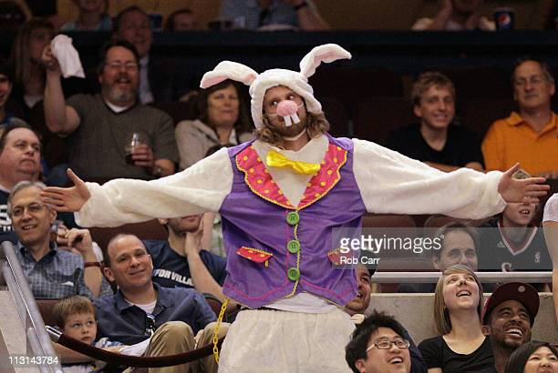 Philadelphia 76ers fan dresseed up as a rabbit cheers during a timeout in Game Four of the Eastern Conference Quarterfinals in the 2011 NBA Playoffs...