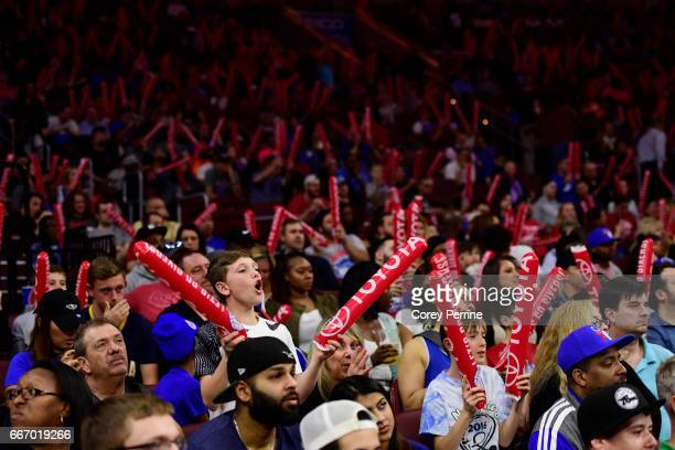Philadelphia 76ers fans try to distract the Indiana Pacers with thunder sticks from free throws against during the fourth quarter at the Wells Fargo...