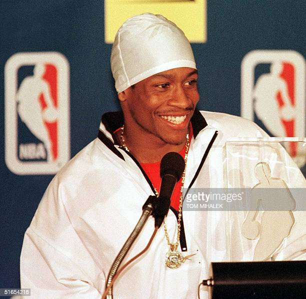 Philadelphia 76ers guard Allen Iverson answers a reporter's question during a press conference after he was named the National Basketball...