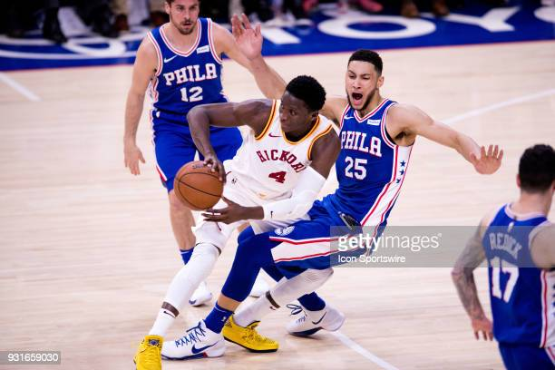 Philadelphia 76ers Guard Ben Simmons draws a foul from Indiana Pacers Guard Victor Oladipo in the second half during the game between the Indiana...