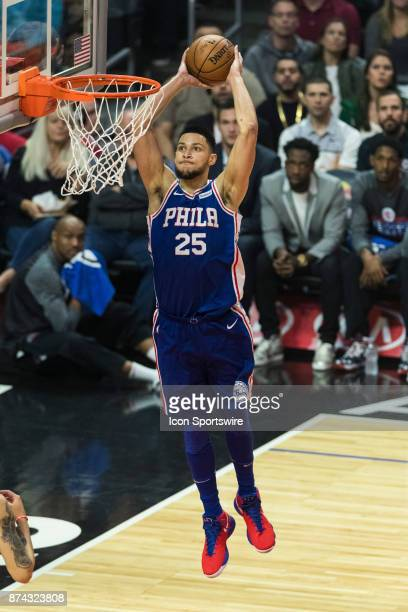 Philadelphia 76ers guard Ben Simmons dunks the ball during the NBA regular season game against the Los Angeles Clippers on Monday Nov 13 2017 at the...