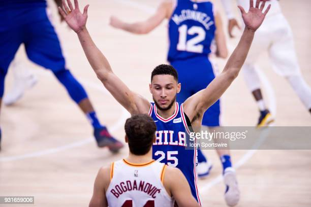 Philadelphia 76ers Guard Ben Simmons guards Indiana Pacers Forward Bojan Bogdanovic on an inbound pass in the second half during the game between the...
