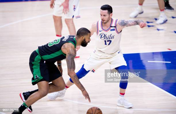 Philadelphia 76ers Guard JJ Redick guards Boston Celtics Forward Marcus Morris in the second half during the Eastern Conference Semifinal Game...