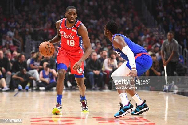 Philadelphia 76ers Guard Shake Milton pushes the ball up the court during a NBA game between the Philadelphia 76ers and the Los Angeles Clippers on...
