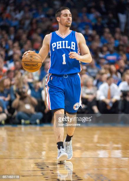 Philadelphia 76ers Guard TJ McConnell bringing the ball up court versus Oklahoma City Thunder on March 22 at the Chesapeake Energy Arena Oklahoma...