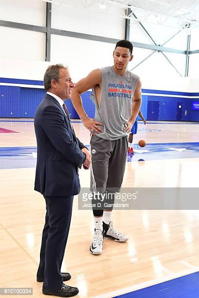 Philadelphia 76ers owner Josh Harris and Ben Simmons of the Philadelphia 76ers talk at the official opening of The Philadelphia 76ers Training...