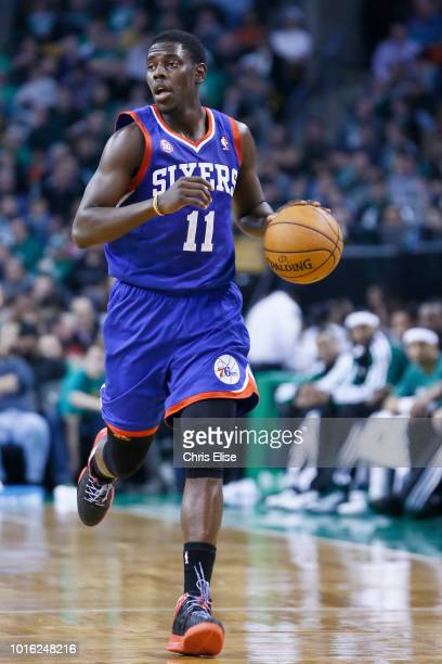 Philadelphia 76ers point guard Jrue Holiday brings the ball upcourt during the Boston Celtics 9279 victory over the Philadelphia 76ers at TD Garden...