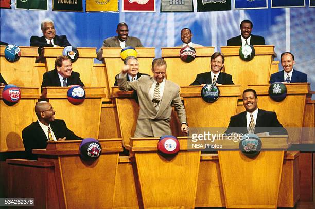 Philadelphia 76ers President Pat Croce celebrates after the Sixers won the No 1 pick at the draft lottery on May 19 1996 in Secaucus New Jersey NOTE...