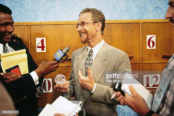 Philadelphia 76ers President Pat Croce talks with the media after the Sixers won the No 1 pick at the draft lottery on May 19 1996 in Secaucus New...