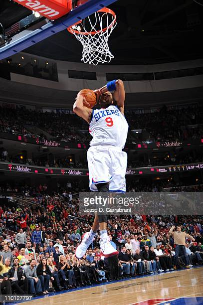 Philadelphia 76ers shooting guard Andre Iguodala goes to the basket during the game against the Oklahoma City Thunder on March 9 2011 at the Wells...