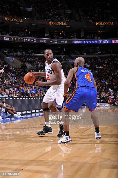 Philadelphia 76ers shooting guard Evan Turner protects the ball during the game against the New York Knicks on April 6 2011 at the Wells Fargo Center...