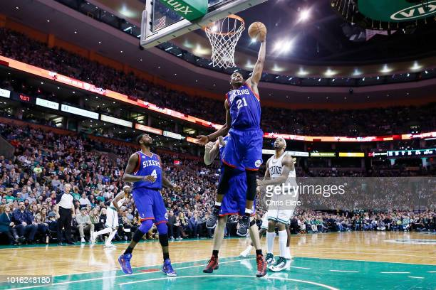 Philadelphia 76ers small forward Thaddeus Young grabs a rebound during the Boston Celtics 9279 victory over the Philadelphia 76ers at TD Garden on...