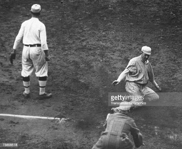 PHILADELPHIA OCTOBER 8 1913 Philadelphia Athletics third baseman Frank Baker waits for the ball during the tenth inning of game of two of the 1913...