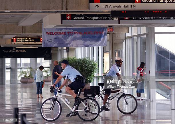 Philadelphia bicycle Police officers patrol the Philadelphia International Airport August 10 2006 in Philadelphia Pennsylvania The US Homeland...