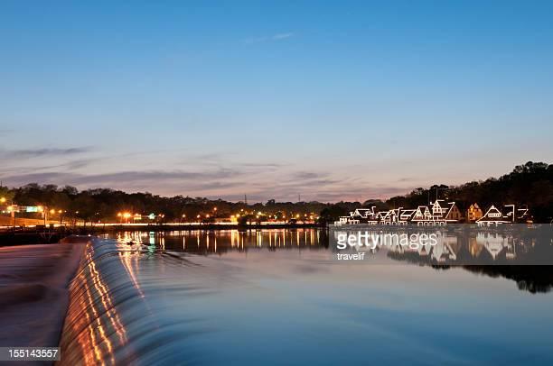 Philadelphia boathouse row on Schuylkill River