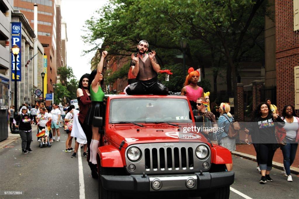 Philadelphia celebrates the 30th Anniversary of Pride Day, celebrating the LGTBQ community, in spite of rain in Philadelphia on June 10, 2018.