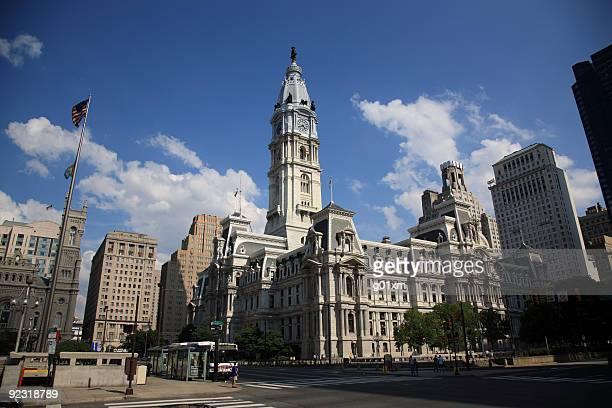 Philadelphia City Hall under a blue sky