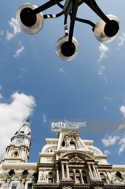 Philadelphia CIty Hall with street lamps