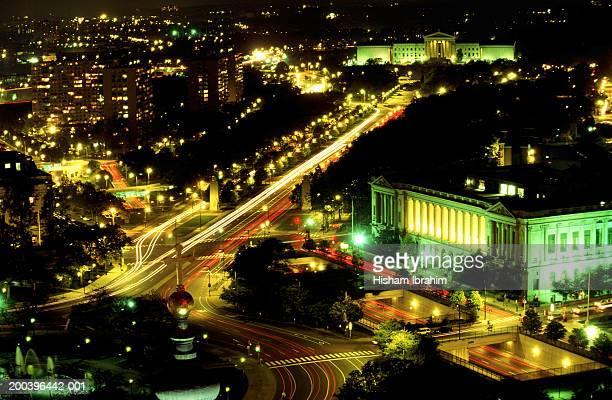 USA, Philadelphia, cityscape, night, aerial view
