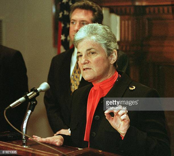 Philadelphia District Attorney Lynne Abraham talks during a press conference 18 February in Philadelphia on the French government's agreement to...