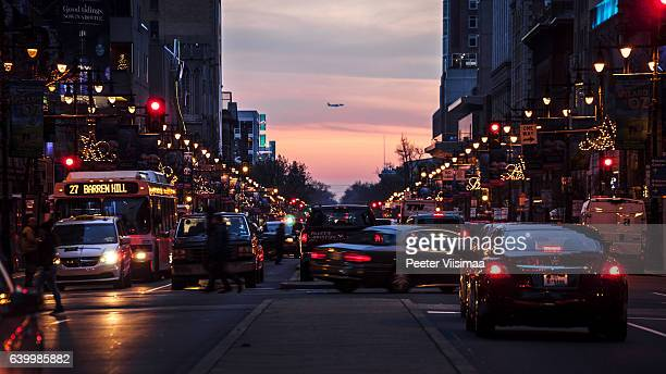 philadelphia downtown traffic. - christmas plane stock pictures, royalty-free photos & images