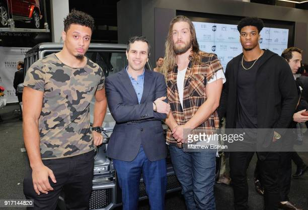 Philadelphia Eagles Bryan Braman Billy Brown and Obi Melifonwu pose with Arthur Mandel during Nolcha Shows New York Fashion Week Fall/Winter 2018 at...