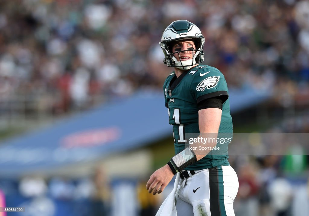 Philadelphia Eagles (11) Carson Wentz (QB) looks up at the scoreboard during an NFL game between the Philadelphia Eagles and the Los Angeles Rams on December 10, 2017 at the Los Angeles Memorial Coliseum in Los Angeles, CA.