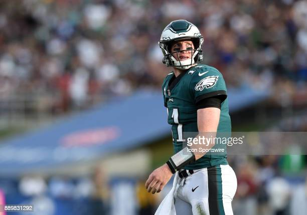 Philadelphia Eagles Carson Wentz looks up at the scoreboard during an NFL game between the Philadelphia Eagles and the Los Angeles Rams on December...