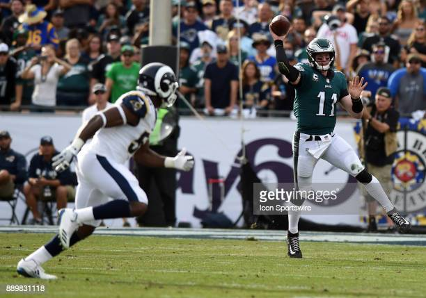 Philadelphia Eagles Carson Wentz throws an off balance pass during an NFL game between the Philadelphia Eagles and the Los Angeles Rams on December...
