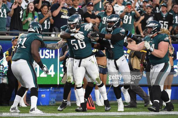 Philadelphia Eagles celebrate after Chris Long of the Philadelphia Eagles strips the ball causing a fumble on Jared Goff of the Los Angeles Rams...