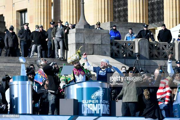 Philadelphia Eagles center Jason Kelce delivers a rant as he speaks from the stage to hundreds of thousands on the Parkway in Philadelphia, PA, on...