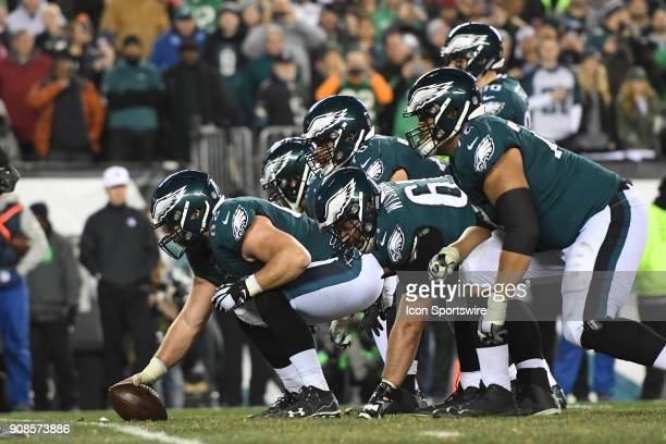 Philadelphia Eagles center Jason Kelce gets ready to snap the ball during the NFC Championship game between the Philadelphia Eagles and the Minnesota...