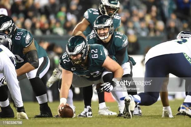Philadelphia Eagles center Jason Kelce prepares to snap the ball to Philadelphia Eagles quarterback Josh McCown during the Playoff game between the...