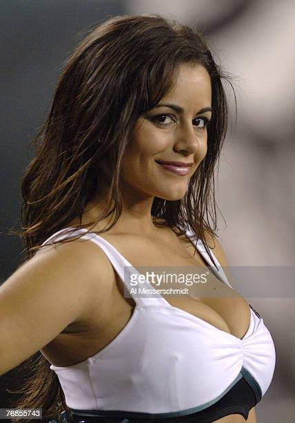 Philadelphia Eagles cheerleader entertains on the sidelines during play against the Green Bay Packers Oct 2 2006 on ESPN Monday Night Football in...