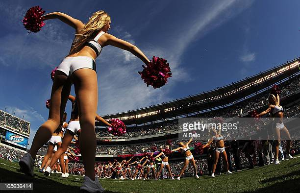 Philadelphia Eagles cheerleader greets the Eagles as they take the field against the Atlanta Falcons during their game at Lincoln Financial Field on...